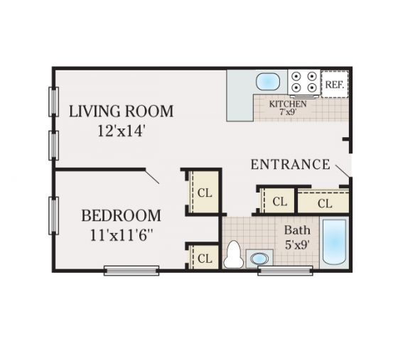 1 Bedroom 1 Bath. 485 sq. ft.